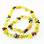 'Caribbean Rain' Baltic Amber Teething Necklace and Bracelet SAFETY KNOTTED Set for Baby (