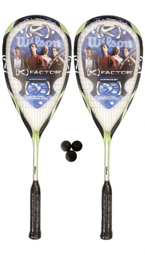 2 x Wilson [K] Rush Squash Rackets  &  3 Dunlop Comp Squash Balls RRP £190