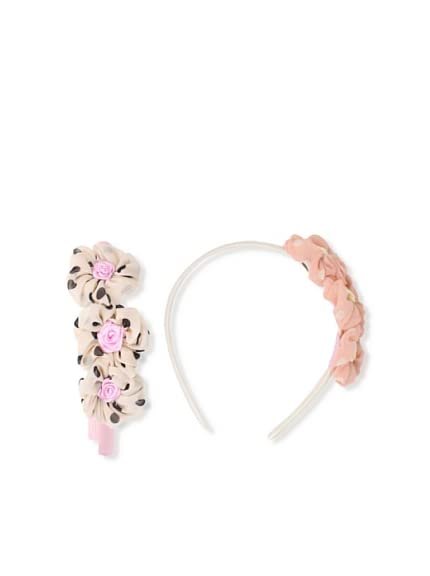 Liliella Pink and Beige Polka Dot Flower Headband Set