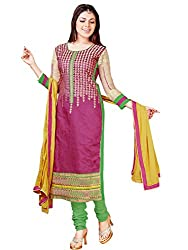 Fashion Queen Presents Pink Colored Unstitched Dress Material