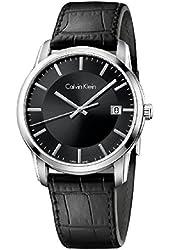 Calvin Klein Infinite Silver / Black Leather Analog Quartz Women's Watch K5S311C1