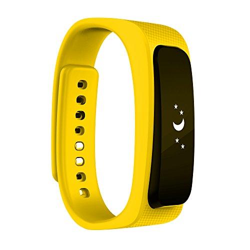 2016 neue Entwurfs-Universal-Bluetooth-Headset mit 0,91-Zoll-OLED-Multifunktions -Smart Watch abnehmbares Armband Fitness Tracker Funkkopfhörer für Apple iPhone 6/5S/5C/5, iPhone 4S/4, Samsung Galaxy S5/S4/S3, LG, PC Laptop, und anderen Bluetooth-Gerät (gelb)