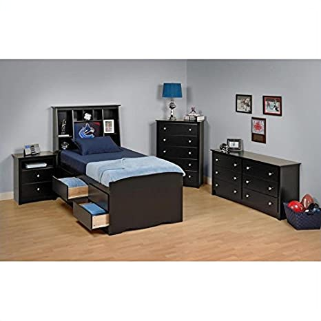 Prepac Sonoma Black Tall Twin Wood Platform Storage Bed 3 Piece Bedroom Set