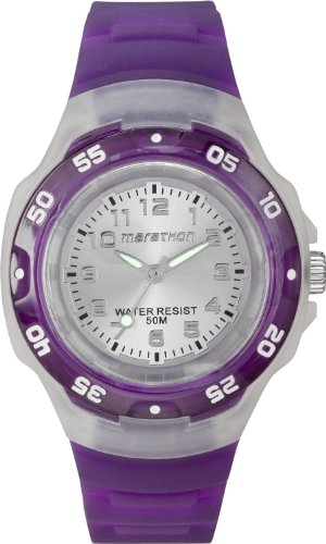 Timex Sport Marathon Midsize Quartz Watch with Silver Dial Analogue Display and Purple Resin Strap T5K5034E