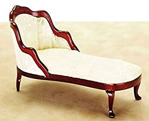 Dollhouse white mahogany fainting couch for Small fainting couch