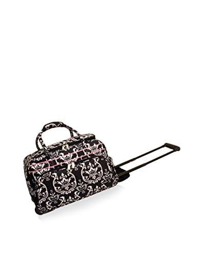 Jenni Chan Damask Soft Carry-All Duffel, Black/Pink