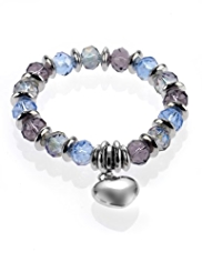 M&S Collection Multi-Faceted Bead & Heart Charm Bracelet