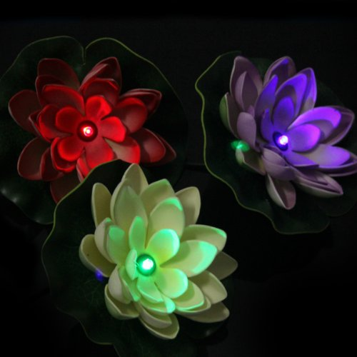 OriGlam® Sun Power Solar Energy Floating Lotus Flower LED Light for Pool, Pond, Garden Night light