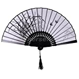 Alcoa Prime Chinese Hand Held Fan Bamboo Silk Orchid Butterfly Decor Fan Collectible #7