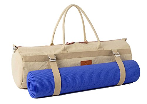 #DoYourYoga Borsa da yoga »Malati« / XL-Yoga mat bag made of high-class Canvas, for EXTRA THICK yogamats / pilatesmats up to 186 x 62 x 1,5 cm, sandcolor