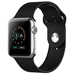 Apple Watch Band, JETech Soft Silicone Replacement Sport Band for Apple Watch All 42mm Models (Silicone - Black)