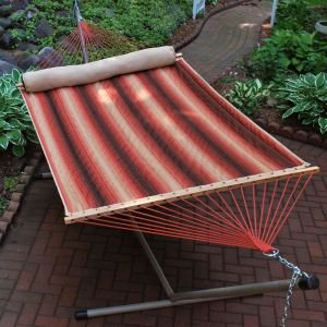 82″ x 55″ Harvest Orange Striped Reversible Quilted Double Hammock with Pillow