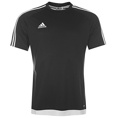 adidas Mens 3 Stripe Estro T Shirt Short Sleeved Tee Top Climalite Black/White L