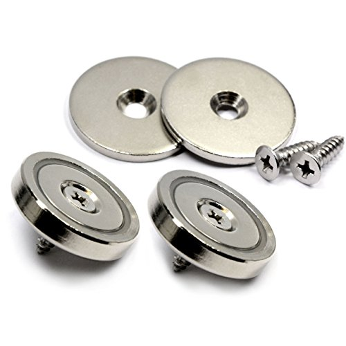 """Two Pieces of CMS Magnetics® 1.26"""" Neodymium Cup Magnets w/ Countersunk hole for #10 screw, two screws included - Up to 88 lb PULL FORCE"""