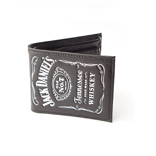 Jack Daniels-Classic Logo bianco ufficiale-Bi-Fold in pelle, a portafoglio, colore: Nero