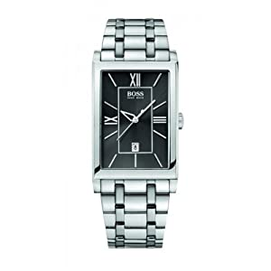 Hugo Boss Men's Quartz Watch with Black Dial Analogue Display and Silver Stainless Steel Strap 1512383