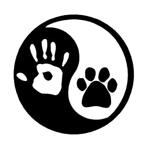"""Amazon.com: Ying Yang Hand and Dog Paw Print 5.75"""" White Sticker Decal"""