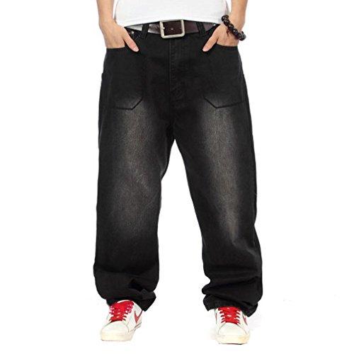 Easy Men'S Casual Cool Hip-Hop Punk Letter Baggy Denim Long Pants 36 Black