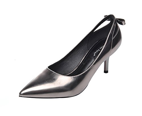 [Freerun Women's Slip-ons Pointed Toe Low Cut Stiletto Pumps with Bowknot (7.5 B(M)US,silver)] (Toddler Girl Racer Costume)