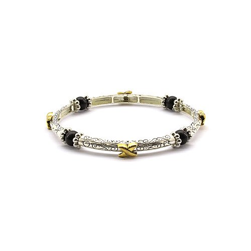 Magnetic Hematite Healing Stretch Bracelet with Floral Decor
