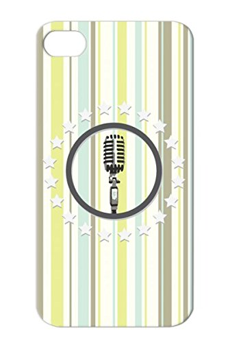 Tpu Sing Miscellaneous Rock N Roll Singer Microphone Music Musician Fifty Mic Music Songwriter Dj Cover Case For Iphone 4 White Mic Microphone Rock 50S Stars