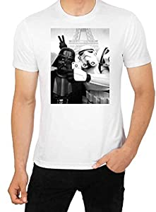 Star Wars SELFIE T Shirt Funny Parody Darth Vader vs Stormtrooper top Men's High Quality T Shirt (L)