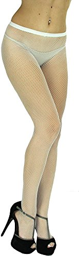 ToBeInStyle Women's Sexy Seamless Fishnet Full Footed Panty Hose Tights Hosiery - WHITE - One Size (White Fishnets)