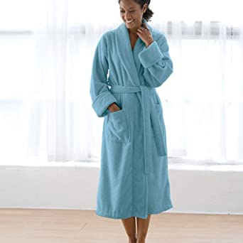 Organic Terry Robe (French Blue, L/XL) Bath Robe (Organic Cotton) (Unisex Bath Robe) ~ Gaiam