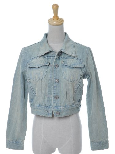 Anna-Kaci S/M Fit Cropped Long Sleeve Distressed Lightly Washed Out Denim Jacket