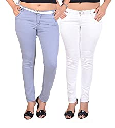 Goodgift White & Ice Blue Cotton Lycra Jeans