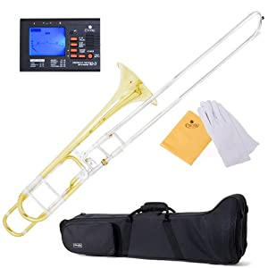 Mendini MTB-31 Intermediate B Flat Tenor Slide Trombone with F Trigger with Tuner, Case, Mouthpiece, Gloves and Cleaning Cloth