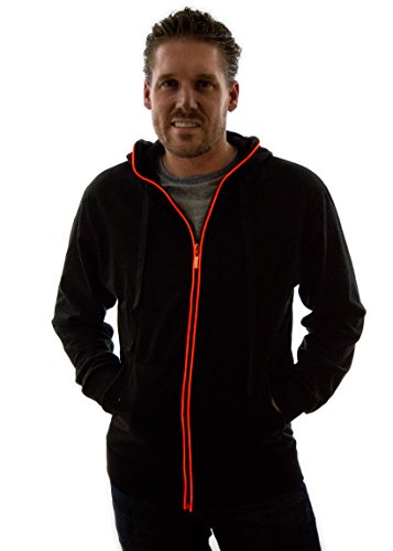 Neon Nightlife Light Up Hoodie, Large, Red