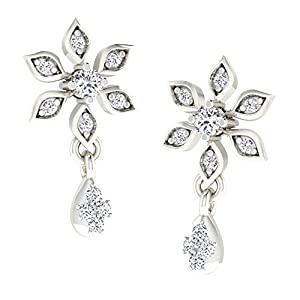 His & Her 0.1 Cts Diamond Flower Earrings in 925 Sterling Silver (GH Color, PK Clarity)