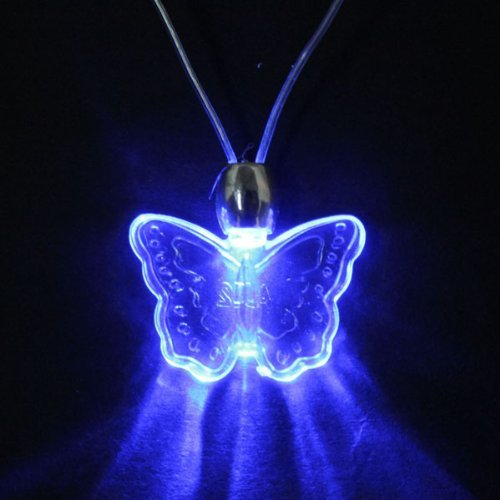 Onegood Led Blue Magnetic Light Lamp Charm Pendant Necklace Party Disco Kid Children Xmas Birthday Gift (Butterfly)