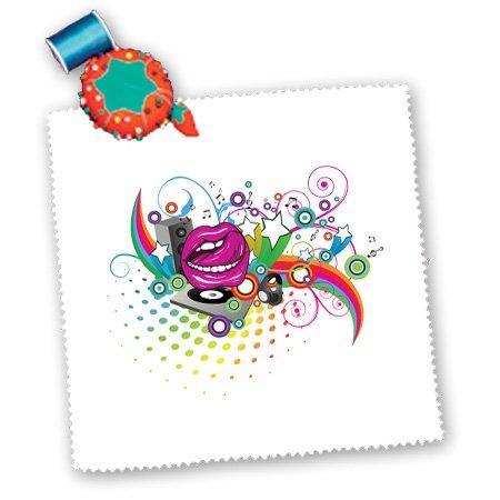 Qs_104517_2 Dooni Designs Music Designs - Colorful Retro Headphones Vector Design - Quilt Squares - 6X6 Inch Quilt Square