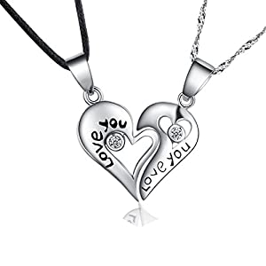 """Sterling Silver Two Piece Heart """"Love You"""" Couples Pendant Necklace Set, Cubic Zirconias Accented, Gift Boxed"""