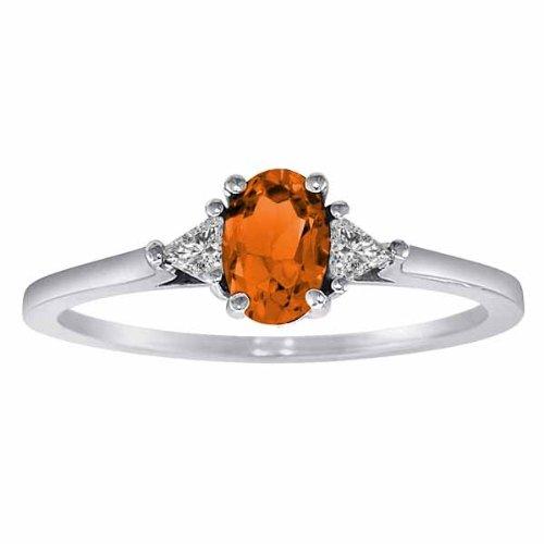 DivaDiamonds Platinum Oval Fire Opal and Triangle Trillion Diamond Ring (3/4 cttw)