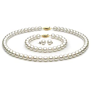 "14k Yellow Gold 7.5-8mm White Freshwater Cultured Pearl Set AAA Quality, 18"" Necklace, 7.5"" Bracelet, & Earrings"