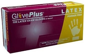 Ammex GPPFT GlovePlus Latex Glove, Medical Exam, Disposable, Powder Free