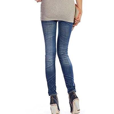 Picama Girl Women's Denim Jeans Look Leggings Jeggings Tights Pants Water Ripple Design Blue