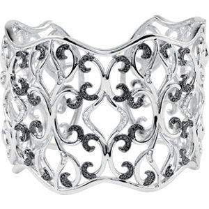 Genuine IceCarats Designer Jewelry Gift Sterling Silver 7 Inch Black And White Diamond Cuff Bracelet 7 Inch 7 Inch Black And White Diamond Cuff Bracelet In Sterling Silver