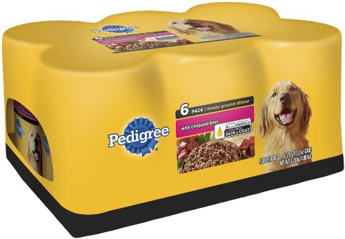 Pedigree Meaty Ground Dinner (with Chopped Beef) Food for Dogs, 6-Count, 13.2-Ounce Cans (Pack of 4)