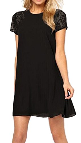 ABUSA Womens Dresses Casual Summer Special Occasion Chiffon Dress Black L