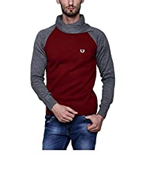 Leebonee Acrylic Men's Full Sleeve Maroon Sweater