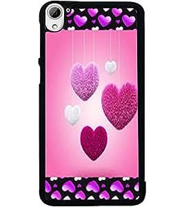 ColourCraft Love Hearts Design Back Case Cover for HTC DESIRE 826