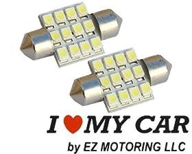 """2pcs 31mm 12-SMD 1.25"""" 12V Festoon Dome Light LED Bulbs + STICKER DE3175 DE3022 DE3021 3175 - White"""