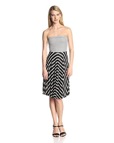 Three Dots Women's Mixed Strapless Dress