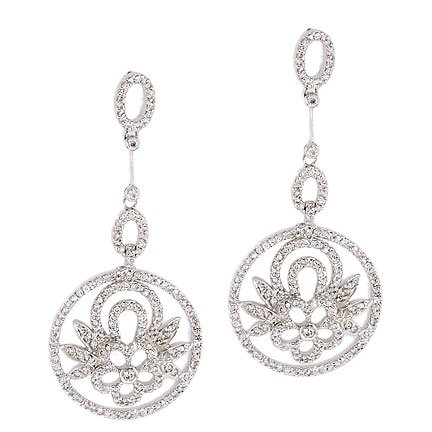 Floral Circle C.Z. Diamond Sterling Silver Dangling Earrings (Nice Holiday Gift, Special Black Firday Sale)
