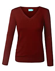 BIADANI Women Long Sleeve V-Neck Soli…
