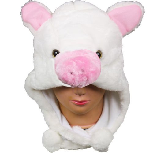 Cartoon Animal Hat Fluffy Plush Cap - Unisex (US Seller)Pig Pink_New_Warm Cap Earmuff Gift (Morphsuit For Kids Cheap)